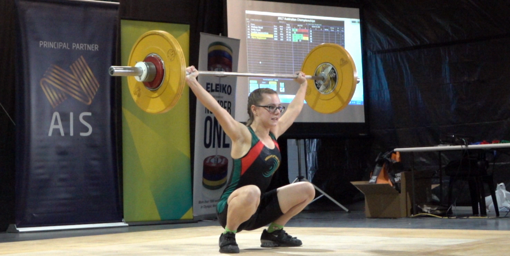 Stephanie Pickrell of the Weightlifting Academy of Sport snatches 56Kg at the Australian Championships 2017
