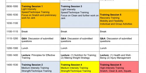 Image of Timetable for Intensive Training Camp for Weightlifting in Hobart