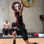Caleb Lucas secures 105Kg in the Clean & Jerk.